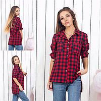Женская рубашка в клетку / котон / Украина 15-459, фото 1