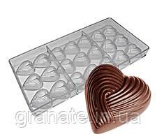 Поликарбонатная форма для шоколада Сердечки 270х135х25 см (21ячейка)