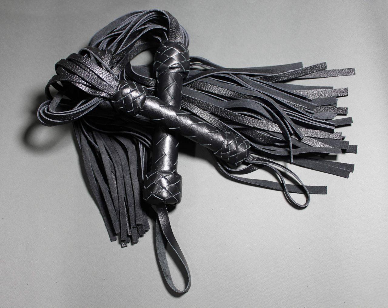 БДСМ Набор Плеть, натуральня кожа, многохвостая черная классика, флогер, Ручная работа