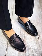 Модные повседневные женские туфли-лоферы кожаные черные, качественная женская обувь