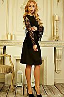 Платье женское с ажурными рукавами «Велия» (S | Черное)