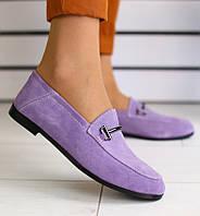 Красивые женские замшевые туфли балетки на низком ходу на танкетке лиловые  2019 C66JE03-1R 7fc0d32adf1f9