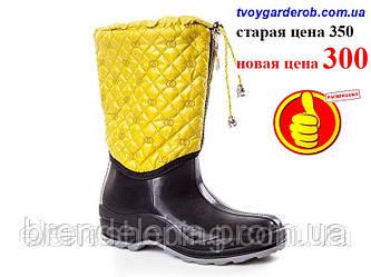 Стильні жіночі гумові чоботи утеплені р(38)