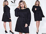Эксклюзивное прямое женское замшевое платье  плотная замша на дайвинге Размеры: 50-54, 56-58, фото 3
