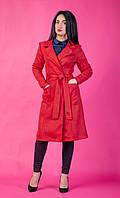 Красное женское полупальто на запах, фото 1