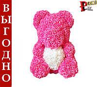 Мишка из 3D роз высота 40 см с сердечком в подарочной коробке
