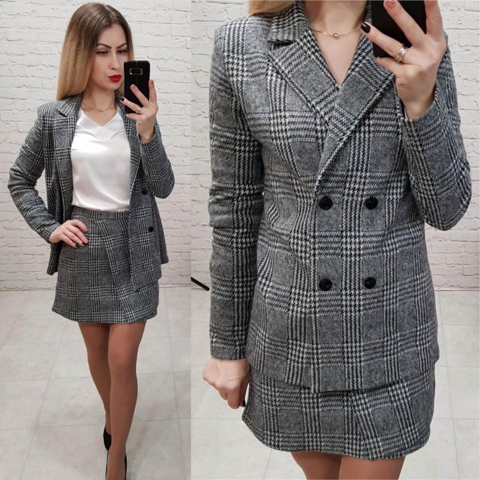 c933a473419 Женский костюм двойка пиджак и юбка трикотаж шанель - FashionTema в Одессе