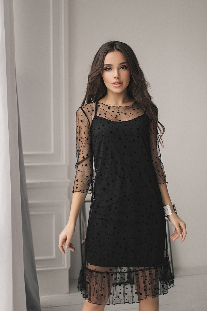 f56adfa7dfc Красивое платье -двойка (стрейчевая сетка-флок в горошек) Размер 42-44 ...