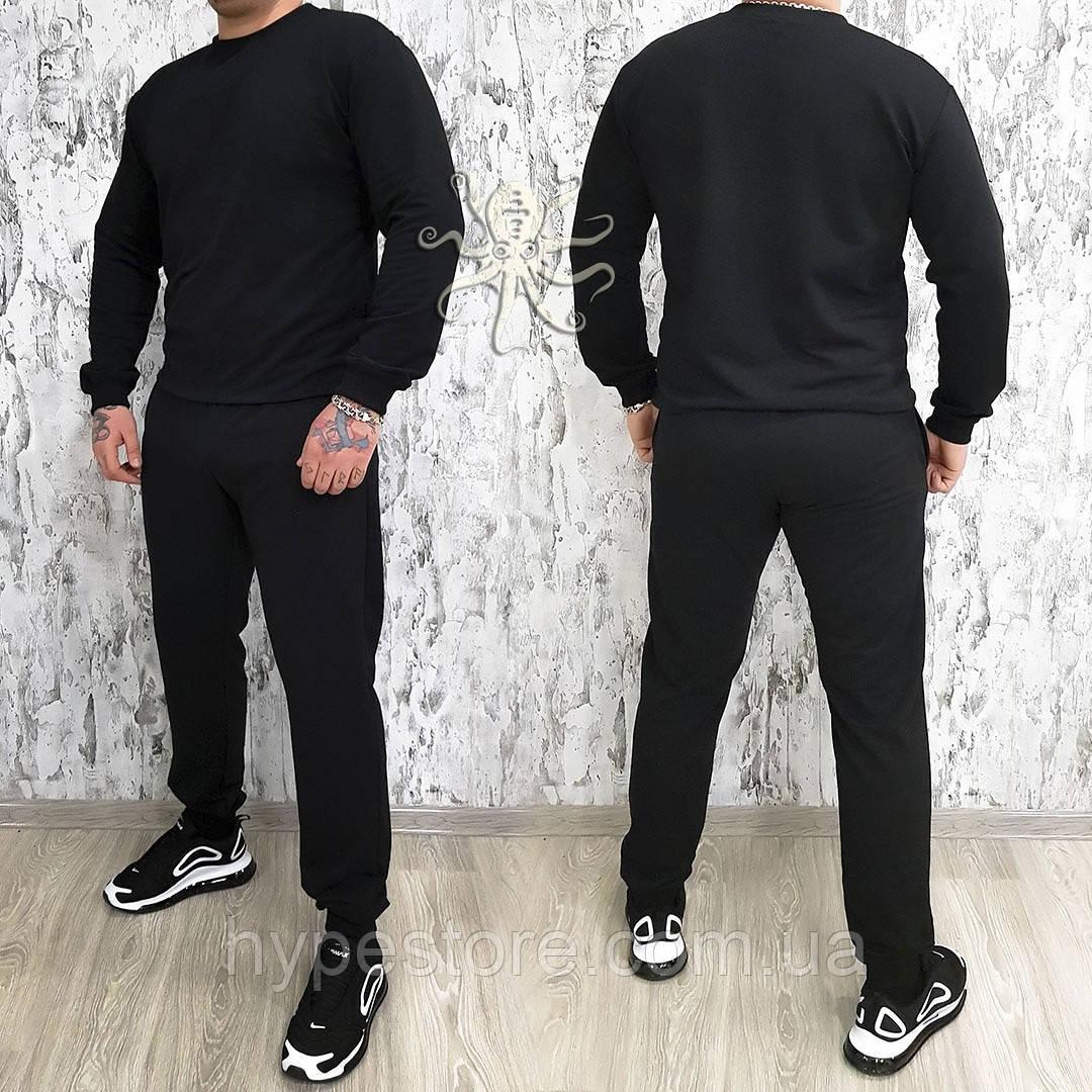Мужской весенний спортивный костюм, чоловічий костюм (черный)