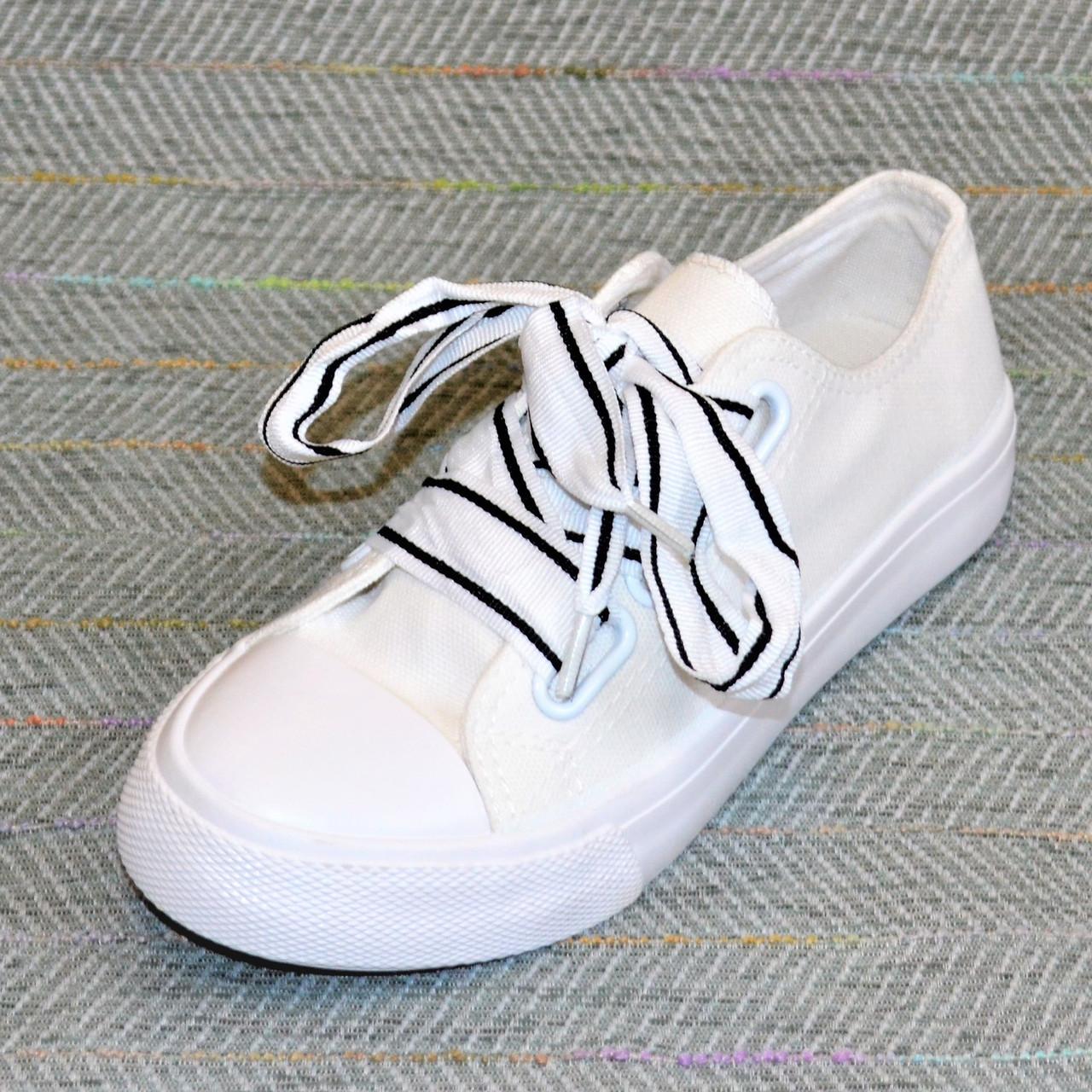Кеди з широкими шнурками, білі розмір 36-22,5 см
