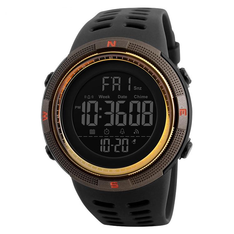 Skmei 1251 amigo золотые с коричневым мужские спортивные часы