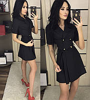Платье женское короткое из габардина под пояс черное