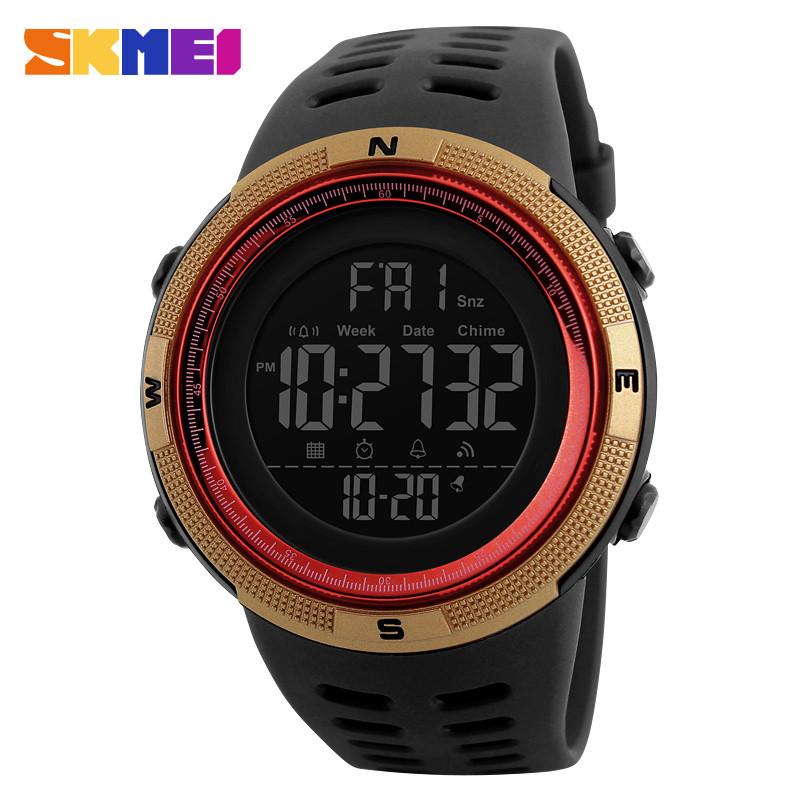Skmei 1251  amigo золотые с красным мужские спортивные часы