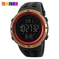 Skmei 1251  amigo золотые с красным мужские спортивные часы, фото 1