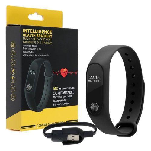 Многофункциональный Фитнес-браслет UWatch M2 Black Смарт часы