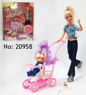 Кукла DEFA 20958 с дочкой, собачка, коляска,аксессуары