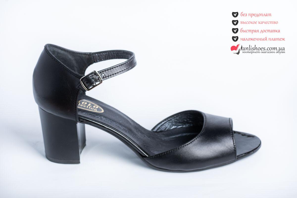 cc8d894d4 🌹Босоножки женские черная кожа гладкая на каблуке. Женские босоножки летние  кожаные.