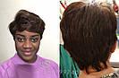 Натуральный парик женский. Короткая стрижка. Коричневый волос., фото 2