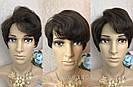 Натуральный парик женский. Короткая стрижка. Коричневый волос., фото 3