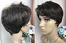 Натуральный парик женский. Короткая стрижка. Коричневый волос., фото 5