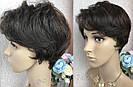 Натуральный парик женский. Короткая стрижка. Коричневый волос., фото 6