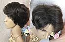 Натуральный парик женский. Короткая стрижка. Коричневый волос., фото 7