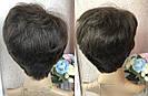 Натуральный парик женский. Короткая стрижка. Коричневый волос., фото 9