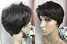 Парик из натуральных волос с короткой стрижкой, фото 4