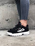 Женские весенние кроссовки Fila Disraptor 2 (Black/white), женские кроссовки фила дасраптор 2, фото 1