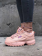 Женские весенние кроссовки Fila Disraptor 2 (pink), розовые женские кроссовки фила дасраптор 2, фото 1