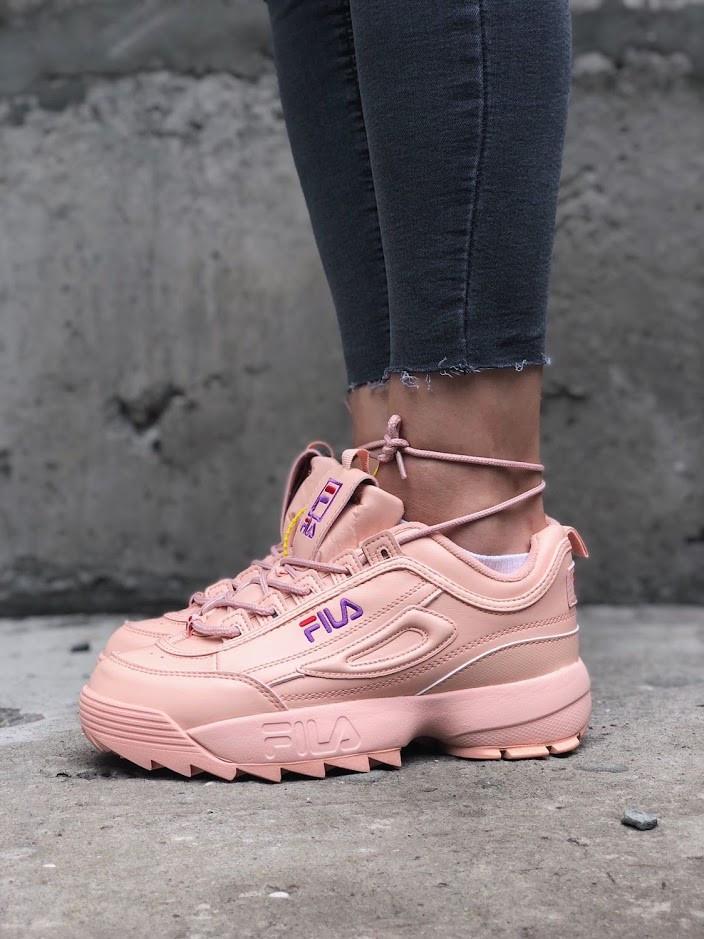 Женские весенние кроссовки Fila Disraptor 2 (pink), розовые женские кроссовки фила дасраптор 2