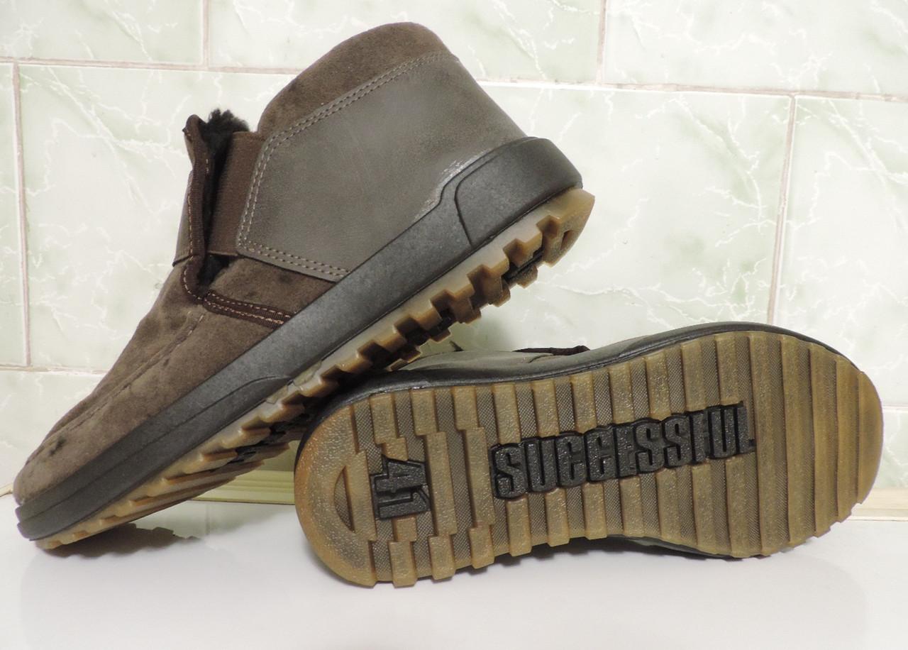 3ee81ea05 ... мужские ботинки коричневого цвета. Изготовлены из эко кожи высокого  качества (нубук). Внутри густой черный мех , по теплоте не уступающий  натуральному.
