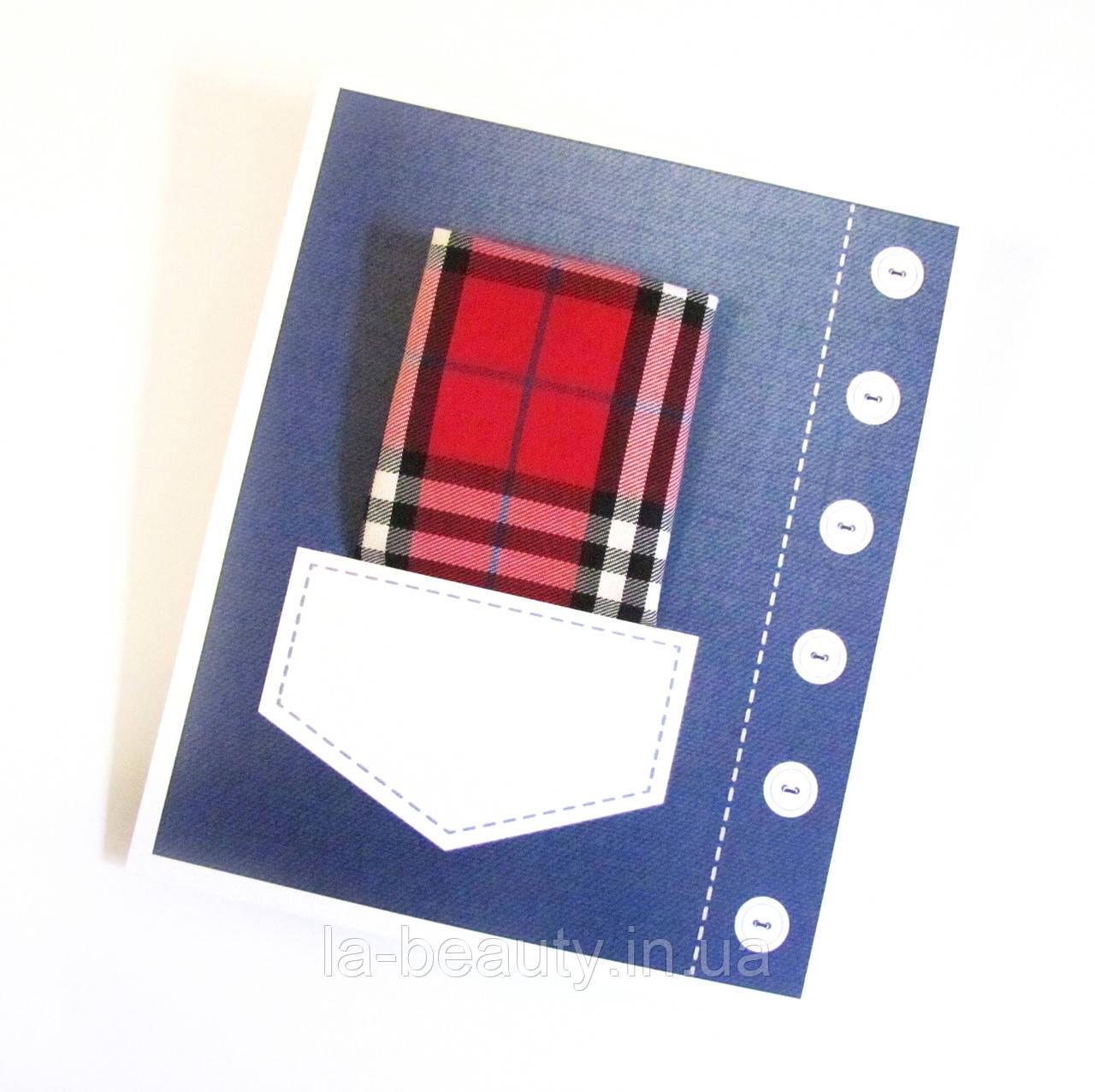 Мужской носовой платок красный клетчатый в кармане с Вашим текстом