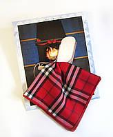 Подарочный носовой платок унисекс Плед на кресле у камина красный клетчатый
