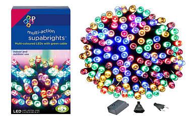 Новорічна гірлянда 300 LED, IP44, Довжина 24 М, Різнобарвний світ