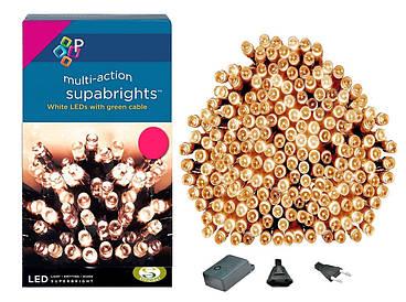 Новорічна гірлянда 300 LED, IP44, Довжина 24 М, Жовтий світло