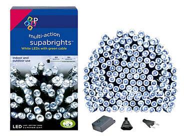 Новорічна гірлянда 300 LED, IP44, Довжина 24 М, Білий холодний світ