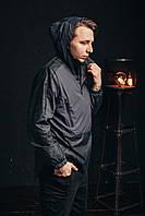 Мужской спортивный анорак с капюшоном водоотталкивающий темный