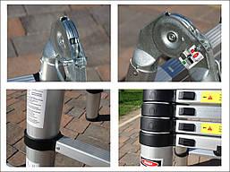 Лестница телескопическая алюминий 5.6 м + стабилизатор, фото 2