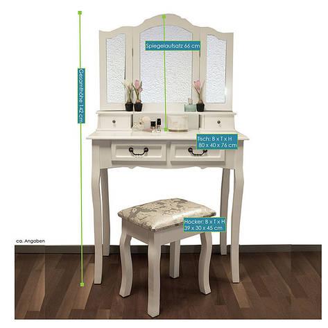 Туалетний столик Emma з табуретом і дзеркалами, фото 2