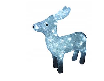 Новогодняя акриловая статуя оленень средний RENIFER, Светящиеся новогодние олени 60 LED