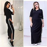 Стильное длинное платье поло на пуговичках с лампасами чёрное 42-44 46-48 50-52 54-56, фото 1