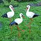 Семья аистов, два больших и один маленький - садовый декор из керамики на металлических лапках, фото 3