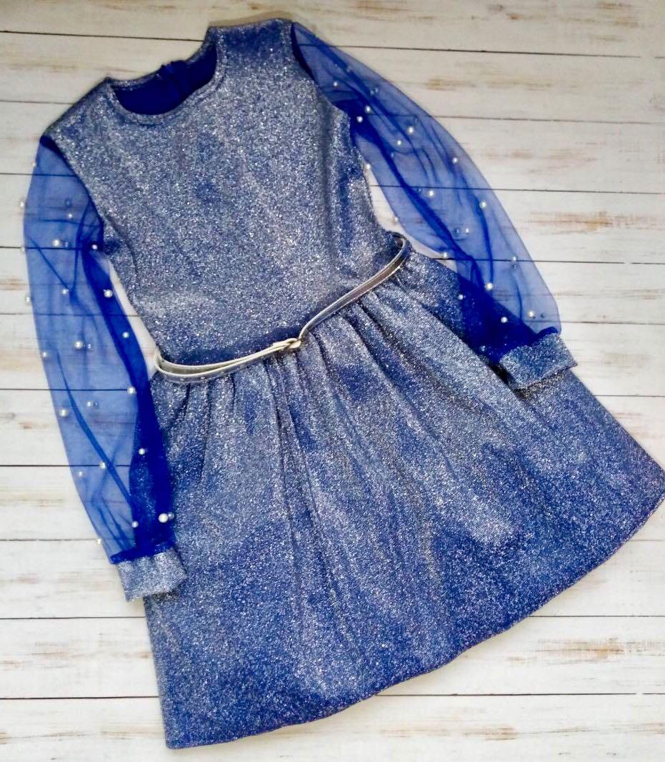 Красивое платье с прозрачными рукавами для девочки