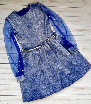 Красивое платье с прозрачными рукавами для девочки, фото 2