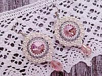 Серьги, серёжки розовые из бисера и бусин ручной работы