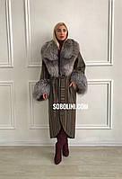 Пальто женское с мехом  чернобурки из твида