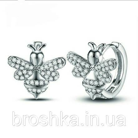 Белые серьги кольца в виде пчел ювелирная бижутерия, фото 2