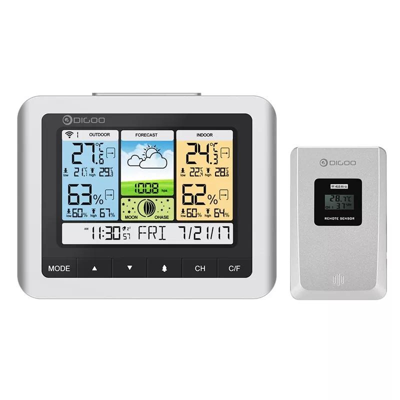 Метеостанция Digoo DG-TH8888 Pro гигрометр/термометр с большим цветным дисплеем и внешним радио датчиком