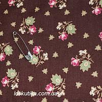 42001 Розовые бутоны на коричневом. Хлопковая ткань для шитья, поделок и для лоскутного шитья (пэчворка), фото 1